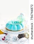 fresh mousse cake  turquoise...   Shutterstock . vector #756746872