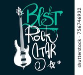 best rock star illustration.... | Shutterstock .eps vector #756746932