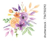 watercolor lavender flower... | Shutterstock . vector #756750292