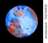 watercolor planet uranium on... | Shutterstock .eps vector #756750955