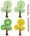 set of abstract cartoon tree... | Shutterstock . vector #75675310
