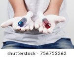 man holding syringes  ready for ... | Shutterstock . vector #756753262