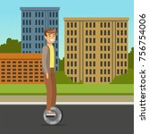 young man riding on one wheel... | Shutterstock .eps vector #756754006