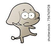 cartoon unsure elephant | Shutterstock .eps vector #756765928