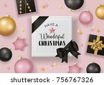 christmas banner design with... | Shutterstock .eps vector #756767326