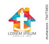 christian church vector logo... | Shutterstock .eps vector #756772852