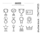 vector award icons set in... | Shutterstock .eps vector #756774955