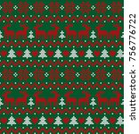 knitted christmas and new year... | Shutterstock .eps vector #756776722