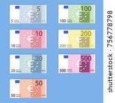 money euro banknotes  simple... | Shutterstock .eps vector #756778798