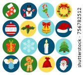 christmas icons flat style... | Shutterstock .eps vector #756782512