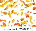 oak leaves flying confetti... | Shutterstock .eps vector #756782926