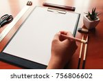 paper blank sketchpad on a... | Shutterstock . vector #756806602