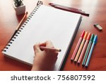 paper blank sketchbook on a... | Shutterstock . vector #756807592
