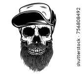 bearded skull in baseball cap.... | Shutterstock .eps vector #756808492