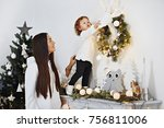 mother with daughter new... | Shutterstock . vector #756811006
