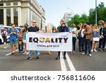 Small photo of KYIV, UKRAINE - JUNE 18, 2017: Activists holding agitative poster on gay pride
