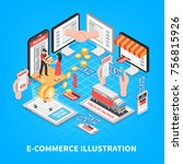 electronic commerce isometric... | Shutterstock .eps vector #756815926
