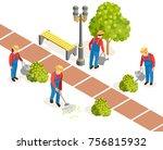 gardener isometric composition... | Shutterstock .eps vector #756815932