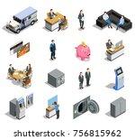 bank isometric elements... | Shutterstock .eps vector #756815962