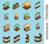 farm local market isometric... | Shutterstock .eps vector #756815986