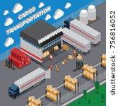 cargo transportation isometric... | Shutterstock .eps vector #756816052