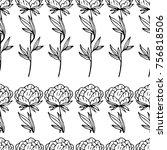 peony illustration. doodle... | Shutterstock . vector #756818506