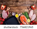 healthy food background. meat ... | Shutterstock . vector #756821965
