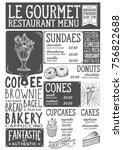 dessert menu for restaurant and ... | Shutterstock .eps vector #756822688