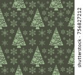 snowflake winter christmas tree ... | Shutterstock .eps vector #756827212