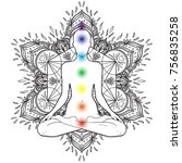 chakras concept. silhouette in... | Shutterstock .eps vector #756835258
