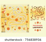 funny giraffes. help the little ... | Shutterstock .eps vector #756838936