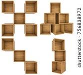 set wooden shelf isolated on... | Shutterstock . vector #756838972