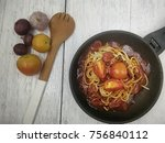 top view of spaghetti bolognese ...   Shutterstock . vector #756840112