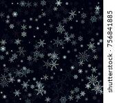 falling christmas snow on black....   Shutterstock .eps vector #756841885