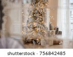 gold christmas background of de ... | Shutterstock . vector #756842485