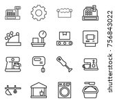 thin line icon set   cashbox ... | Shutterstock .eps vector #756843022