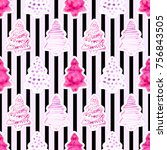 seamless pattern with hand... | Shutterstock . vector #756843505