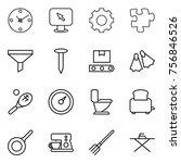 thin line icon set   clock ... | Shutterstock .eps vector #756846526