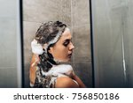 girl washing hair with shampoo... | Shutterstock . vector #756850186