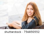 happy beautiful girl resting on ... | Shutterstock . vector #756850552