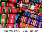 colorful table cloths for sale... | Shutterstock . vector #756850852