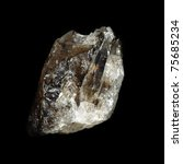 Small photo of crude black quartz (morion) on black background