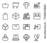 thin line icon set   basket ... | Shutterstock .eps vector #756853882