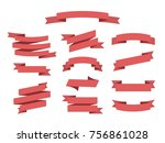 flat vector ribbons banners... | Shutterstock .eps vector #756861028
