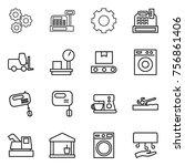 thin line icon set   gear ... | Shutterstock .eps vector #756861406