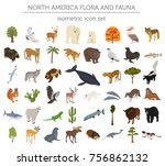 isometric 3d north america... | Shutterstock .eps vector #756862132