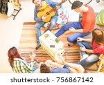 group of friends playing guitar ... | Shutterstock . vector #756867142