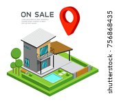 modern house isometric with red ... | Shutterstock .eps vector #756868435