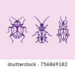 beetle bug tattoo drawing.... | Shutterstock .eps vector #756869182