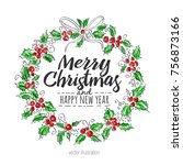 merry christmas and happy new...   Shutterstock .eps vector #756873166